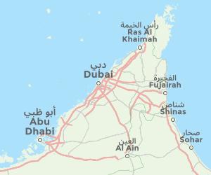 Map of Dubai, UAE